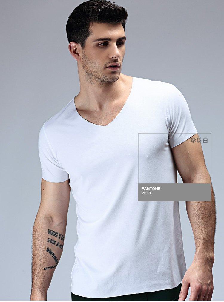 领�9k�iY�[��y�N���_v领无痕短袖男t恤 莫代尔随心裁纯色男士打底t恤