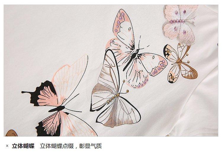 时尚小鱼ssxiaoyu男女童混合专场 女童可爱蝴蝶绣花t恤米白
