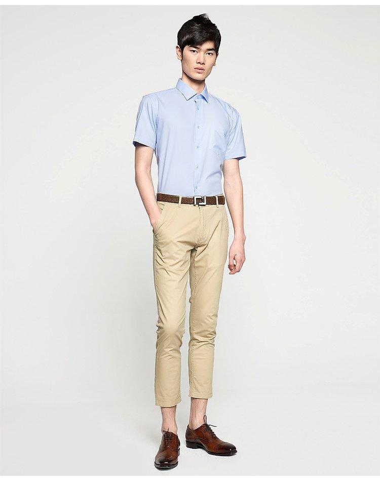 舒适正装短袖衬衫浅蓝花纹