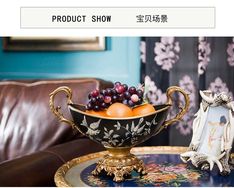 欧式客厅餐厅陶瓷双耳果盘果碗收纳摆件