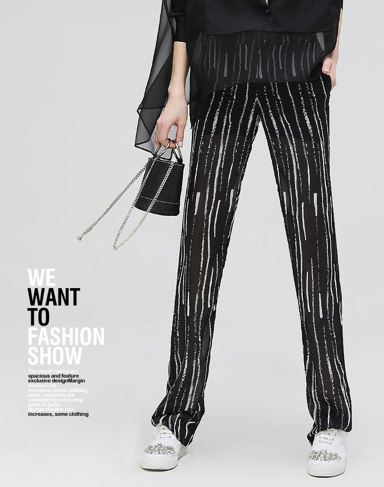 不规则黑白条纹雪纺直筒裤