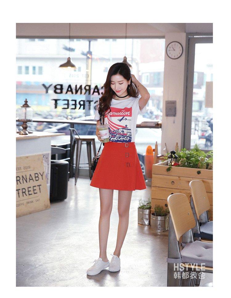 甜美萌妹子显瘦纯色短裙a字中腰半身裙橘红色