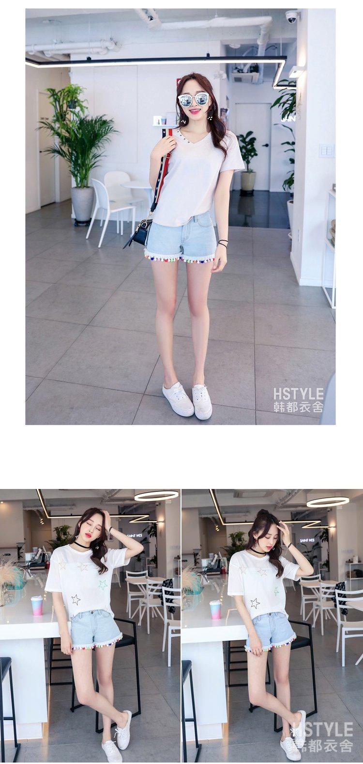 甜美萌妹子清新中腰牛仔短裤蓝色