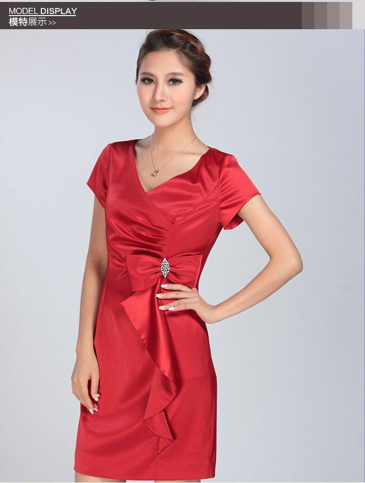 女装蝴蝶结装饰礼服连衣裙红色