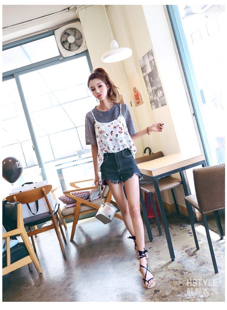 2018年夏季新款韩版女装夏装甜美萌妹子印花碎花吊带两件套短袖雪纺衫