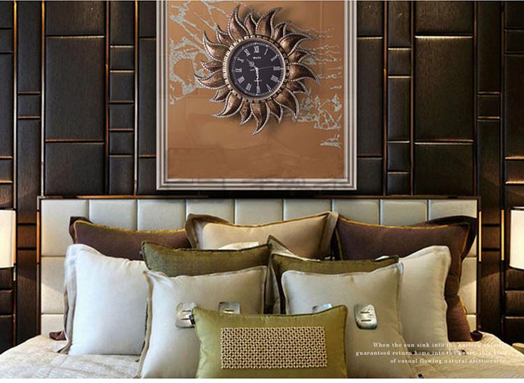 英伦欧堡-欧式复古装饰圆形太阳艺术壁钟直径70cm