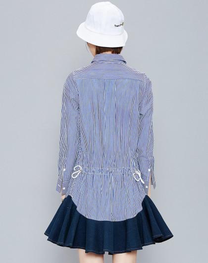 条纹衬衫鱼尾裙设计拼接蓝色