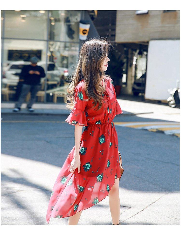 喇叭袖甜美可爱短袖连衣裙红色