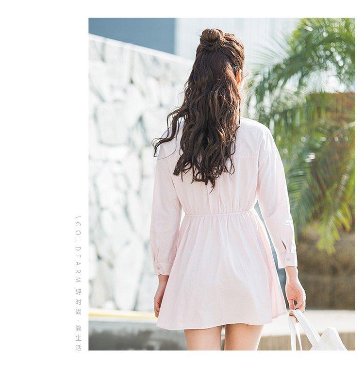 梭织长袖连衣裙