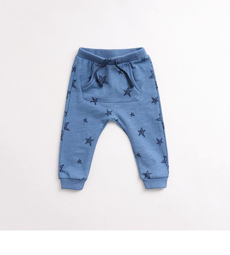 男宝纯棉可爱印花运动长裤蓝色