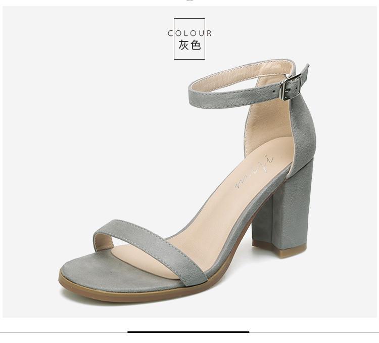 【徐靜蕾定制款8cm跟高】涼鞋女一字露趾粗高跟鞋女鞋裸色圖片