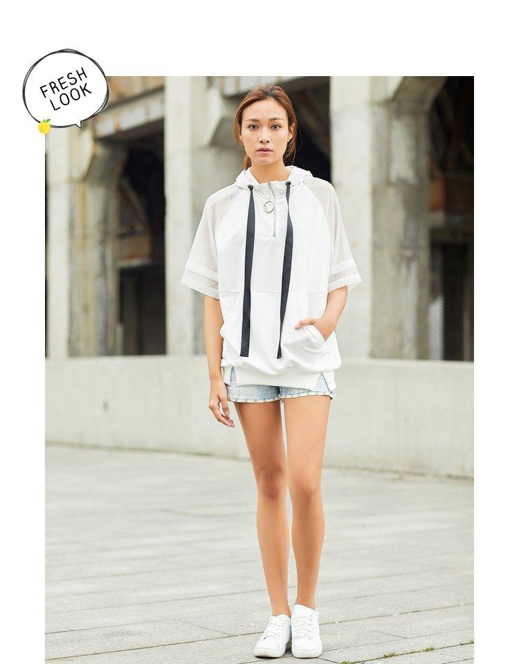 森马夏季休闲运动女款针织五分袖卫衣图片