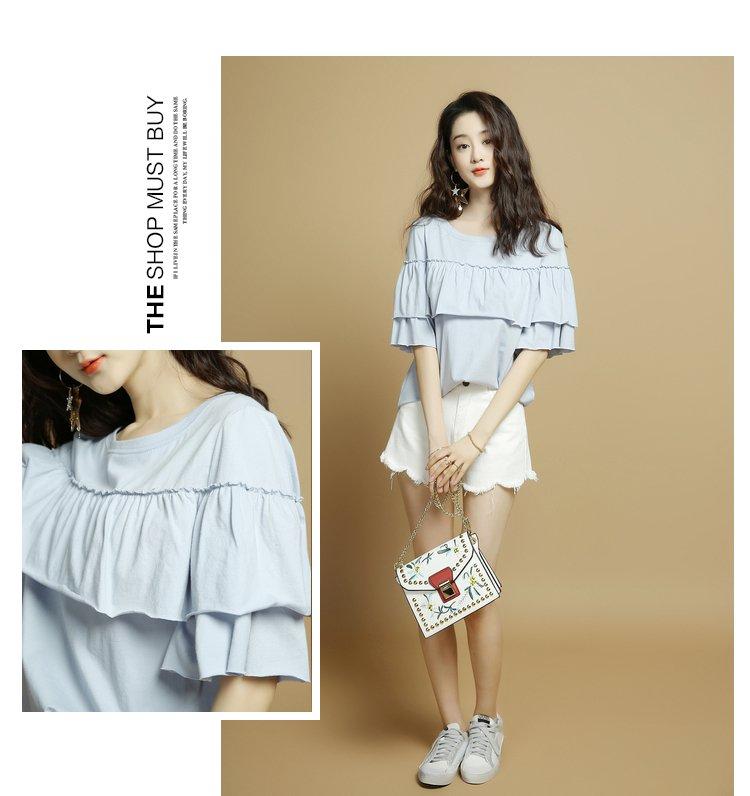 (夏新品)纯色褶皱花边圆领短袖t恤浅蓝色