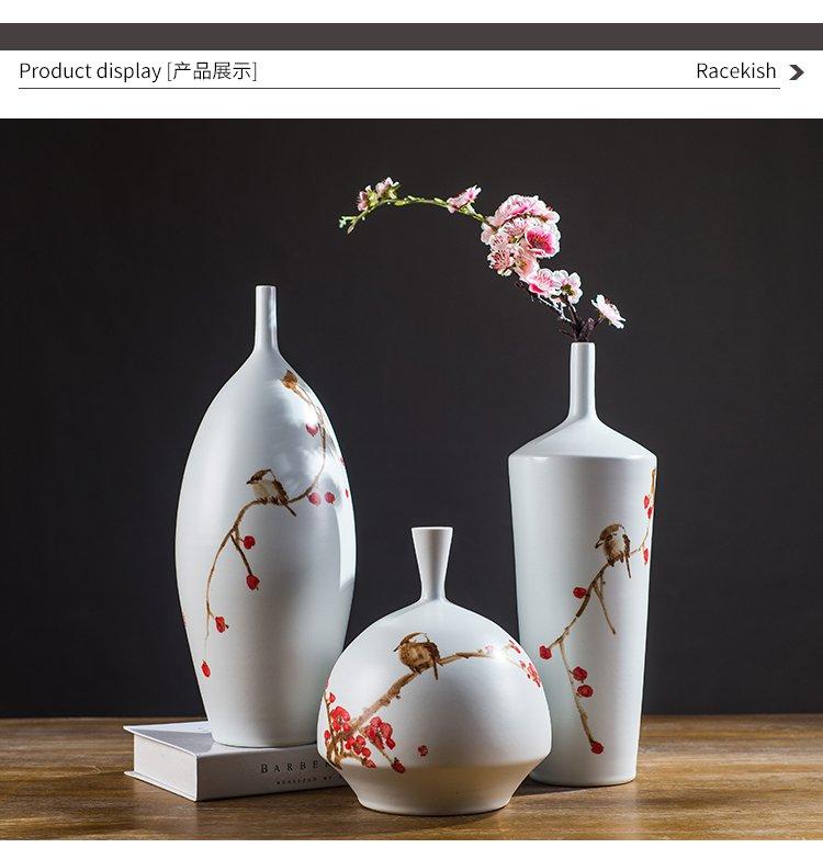手绘花瓶梅花小口陶瓷花器