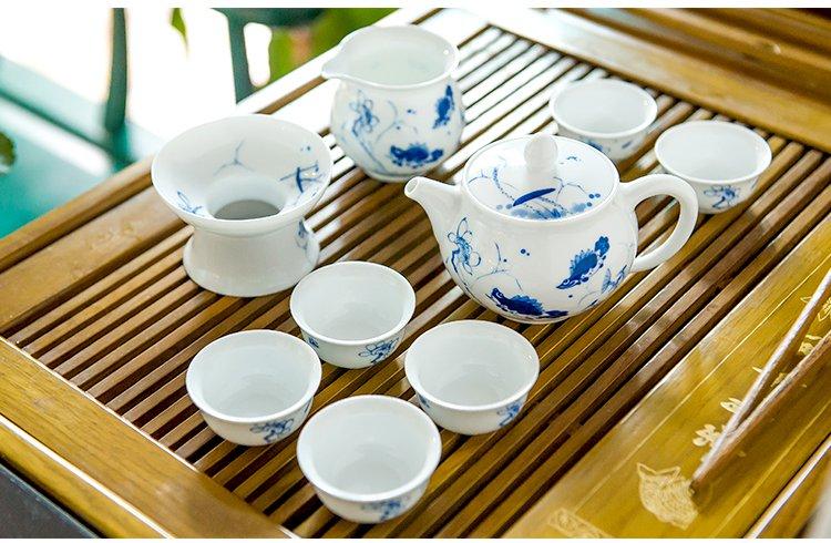 手绘荷为贵茶壶茶杯功夫茶具套装