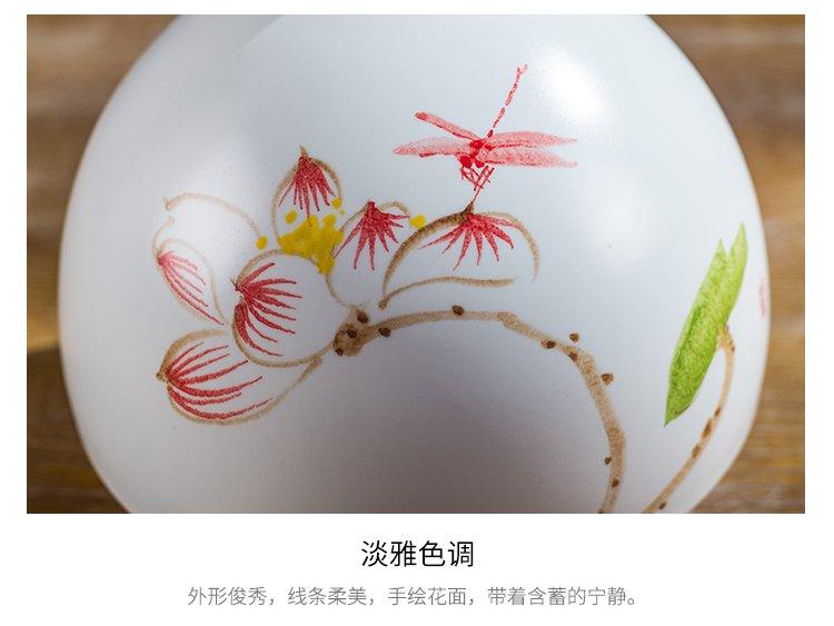 清新陶瓷手绘花瓶莲花小口花器