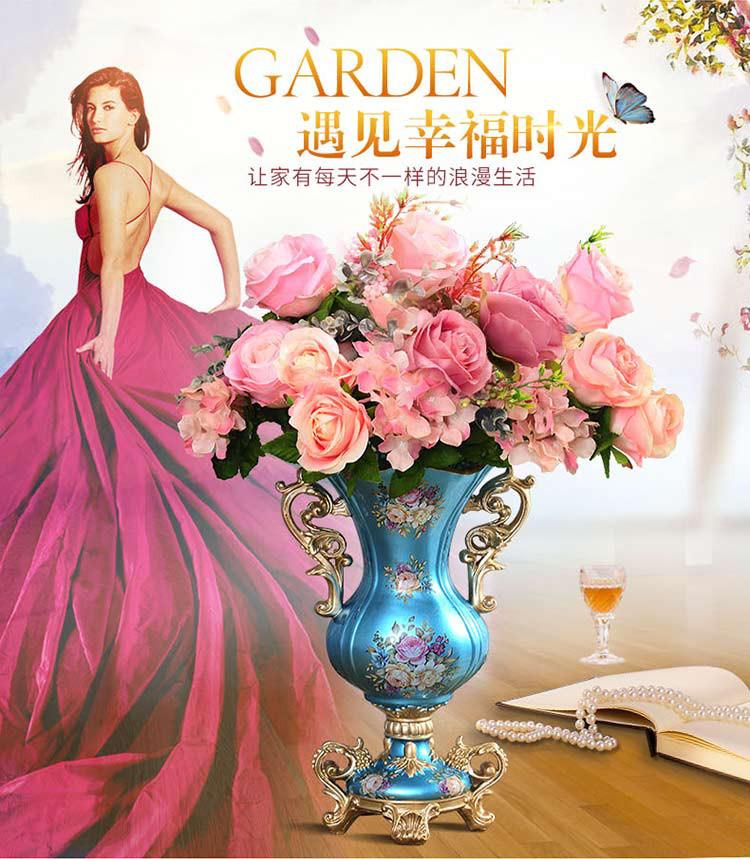 英伦欧堡-欧式家居高款双耳大花瓶配花套装