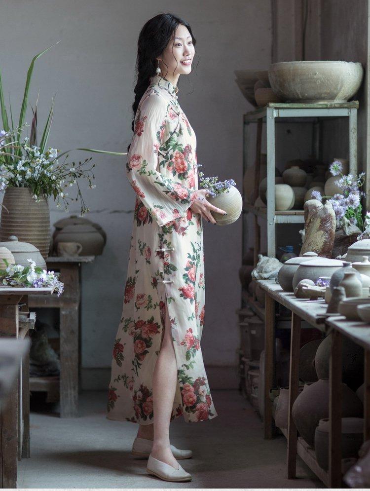 真丝旗袍连衣裙两件套