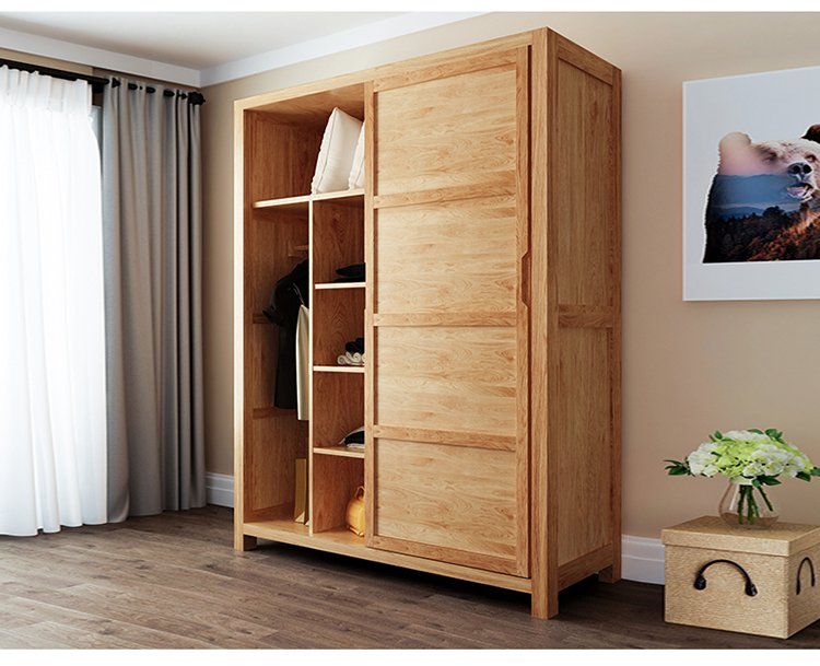 北欧白橡木实木推拉门衣柜