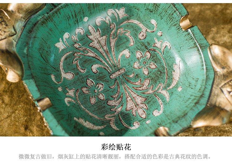 树脂雕刻复古绿贴花小象烟灰缸