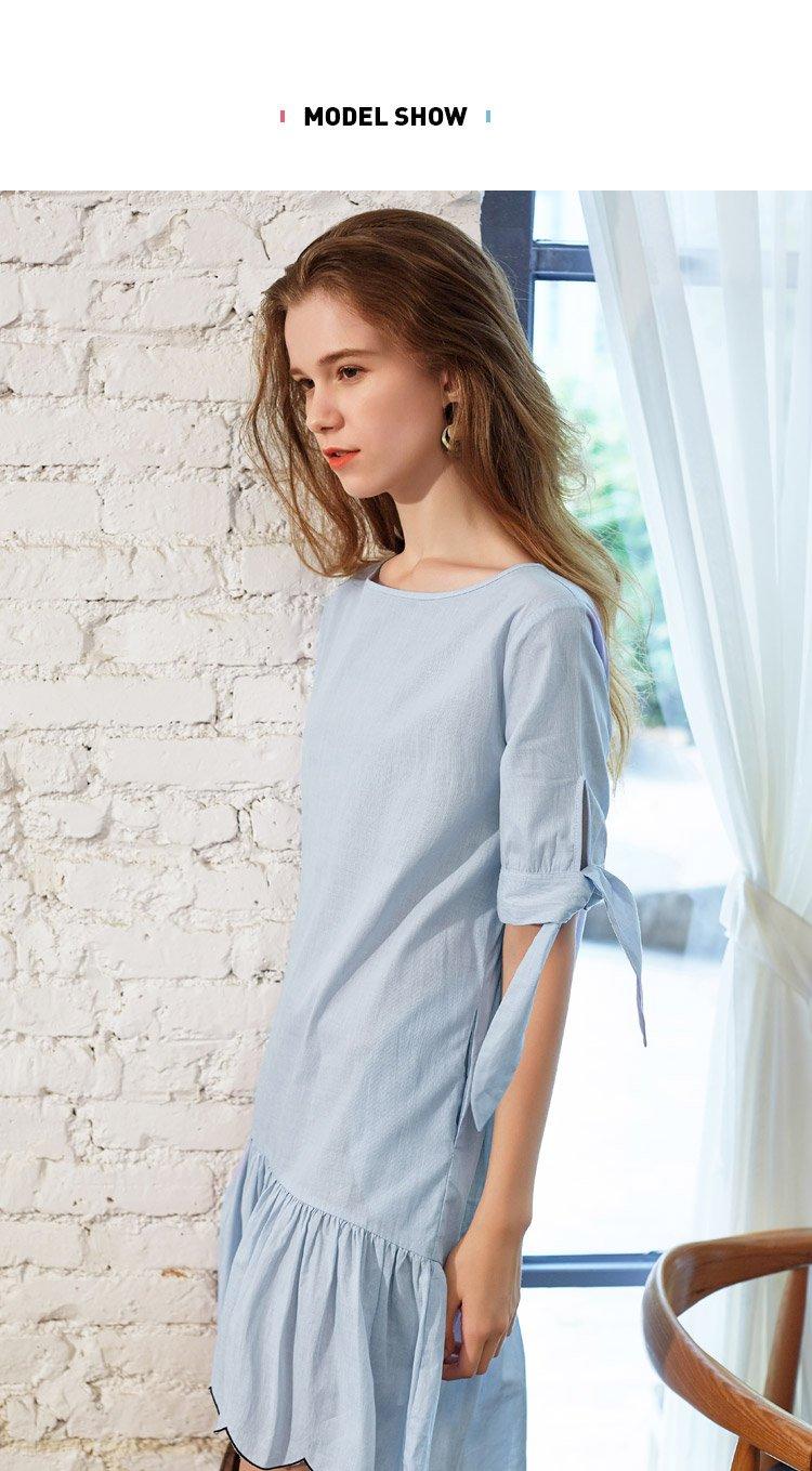 衣袖系带设计荷叶裙摆夏装连衣裙