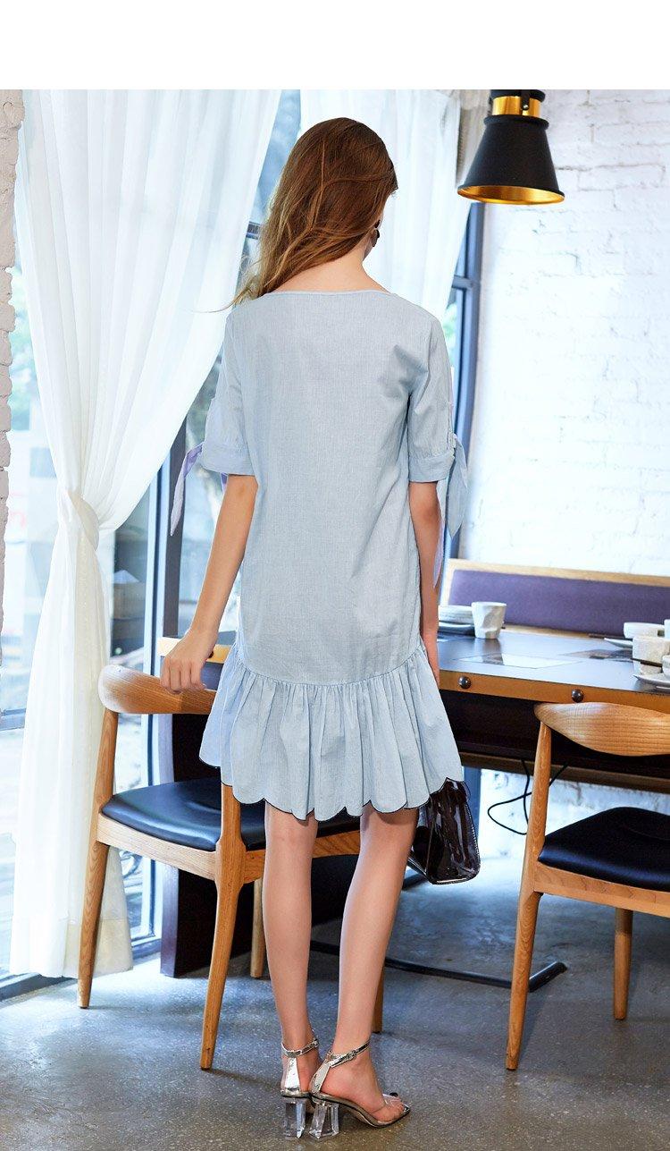 衣袖系带设计荷叶裙摆连衣裙