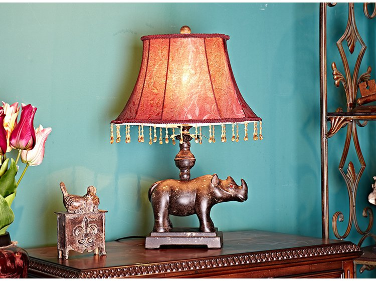 欧美式卧室客厅书房婚庆犀牛台灯