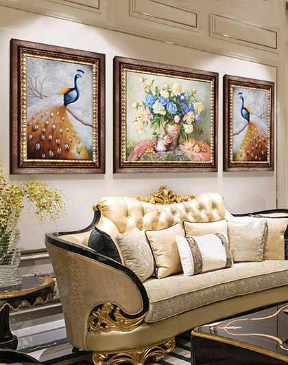 平安孔雀 欧式大气沙发背景墙壁画装饰画