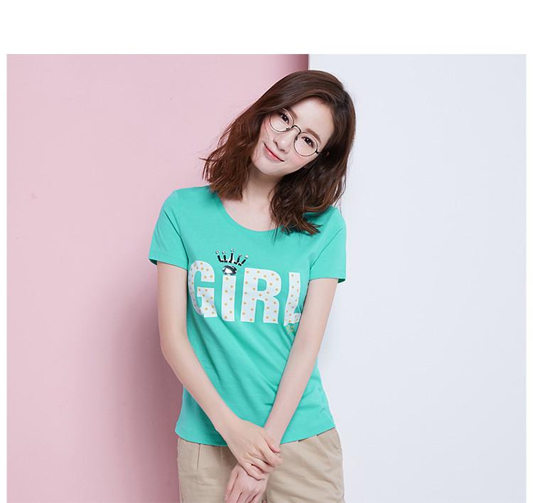 森马夏季女甜美休闲字母印花钉珠纯棉学生百搭短袖t恤图片