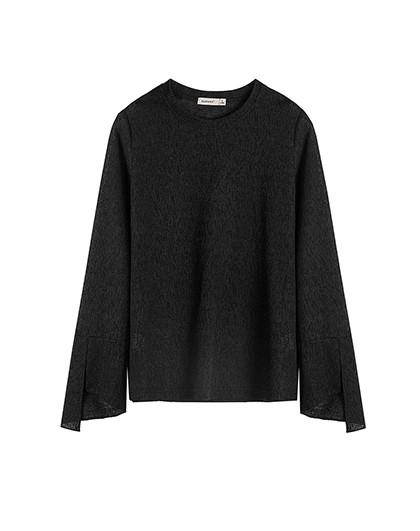 2017秋季新品女款纯色圆领雪花纹理荷叶长袖t恤