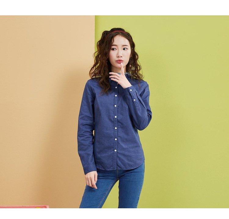 森马秋季女士撞色打底女装方领韩范长袖衬衫图片