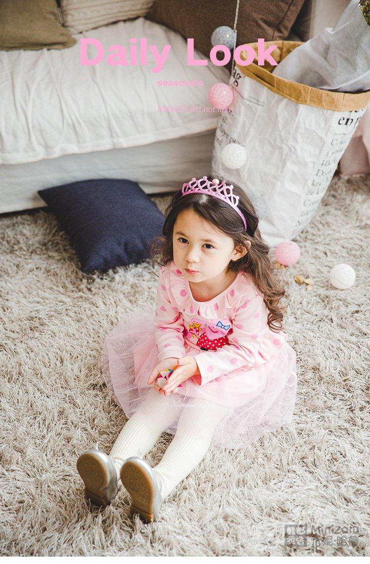 韩都衣舍米妮哈鲁小猪佩奇卡通可爱女童公主连衣裙