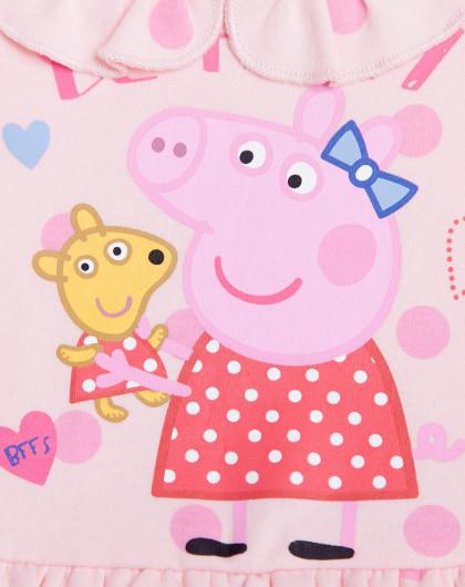 米妮哈鲁minizaru婴幼童小猪佩奇卡通可爱女童公主连衣裙
