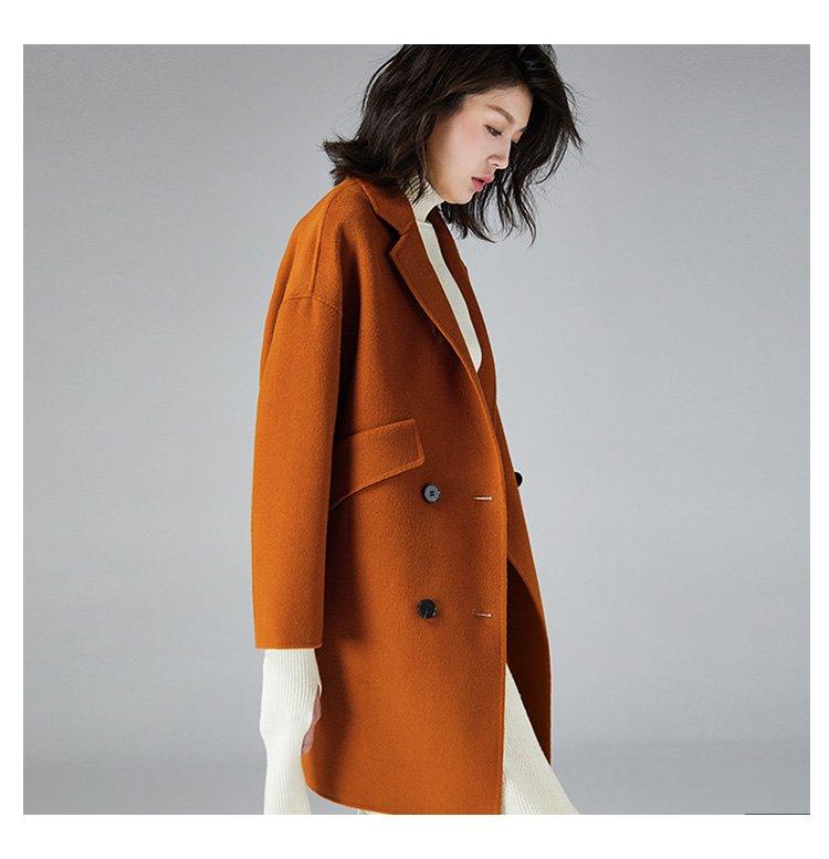 一手长双面呢大衣
