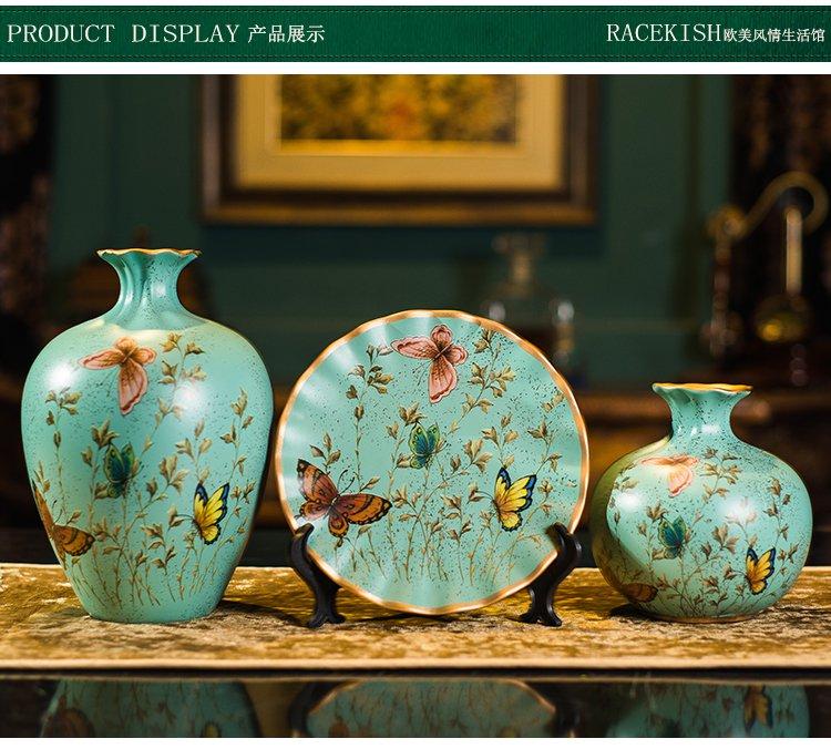欧式花鸟陶瓷客厅玄关三件套家居摆件