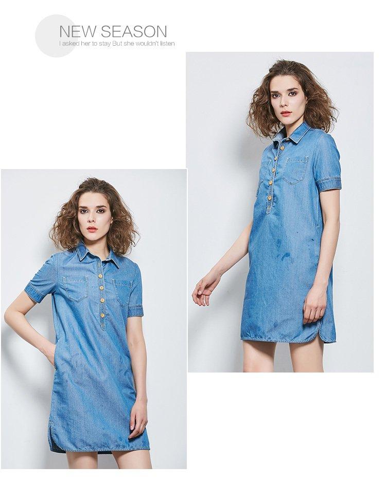 衬衫式牛仔连衣裙