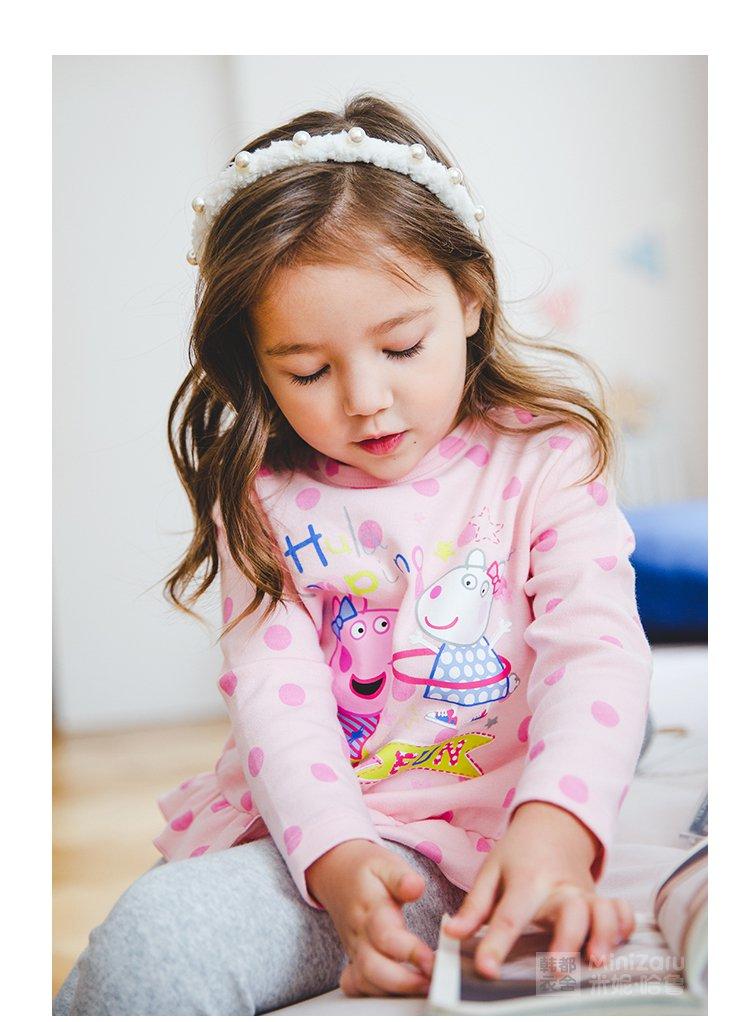 米妮哈鲁minizaru婴幼童儿童童装女宝宝卡通小猪佩奇图案圆领拼接花边