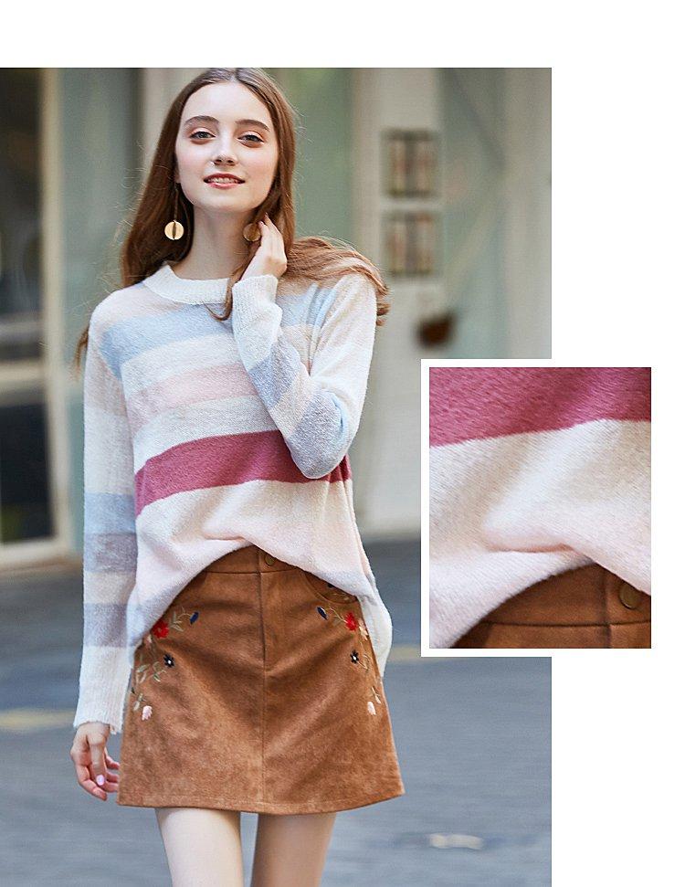 时尚秋装彩虹条纹针织衫