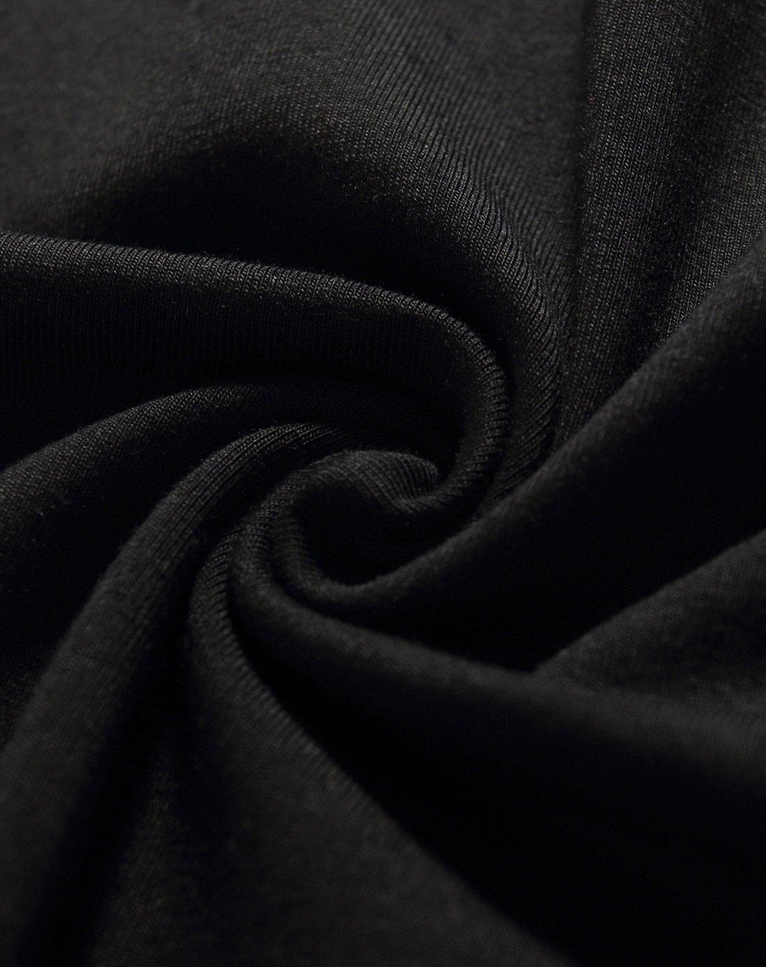 黑色纯色修身圆领长袖t恤