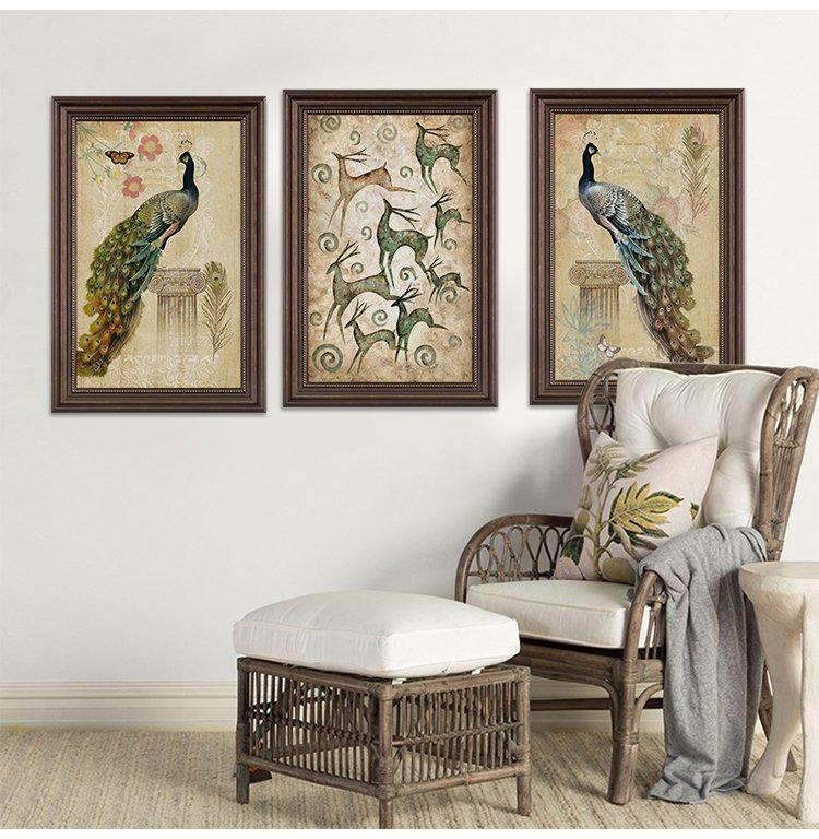 富贵鸟 欧式沙发背景装饰画 产地: 浙江 装裱方式: 有框 材质: ps