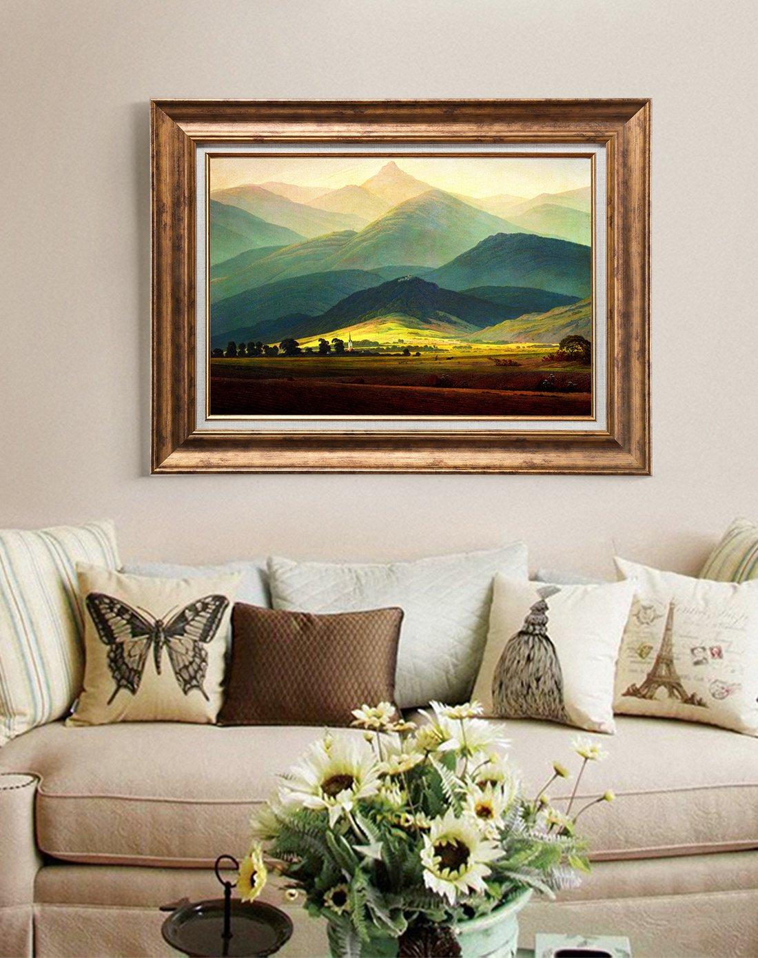 100*80单幅 巨人山 背有靠山欧式大气沙发背景装饰画客厅装饰画客厅
