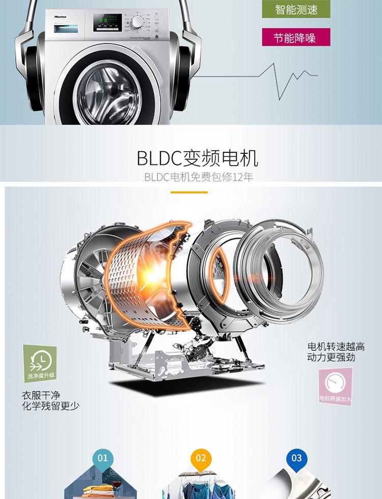 海信【变频健康洗】xqg100-s1208f 10公斤中途添衣全自动滚筒洗衣机