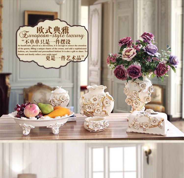 欧式陶瓷描金梅花系列装饰花瓶