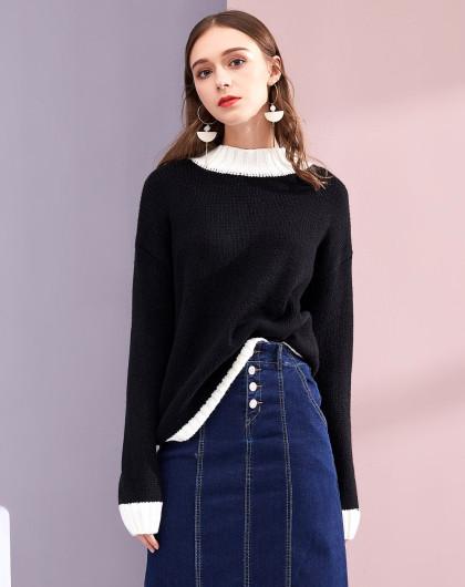 2017冬设计师定制款 撞色落肩袖线衫
