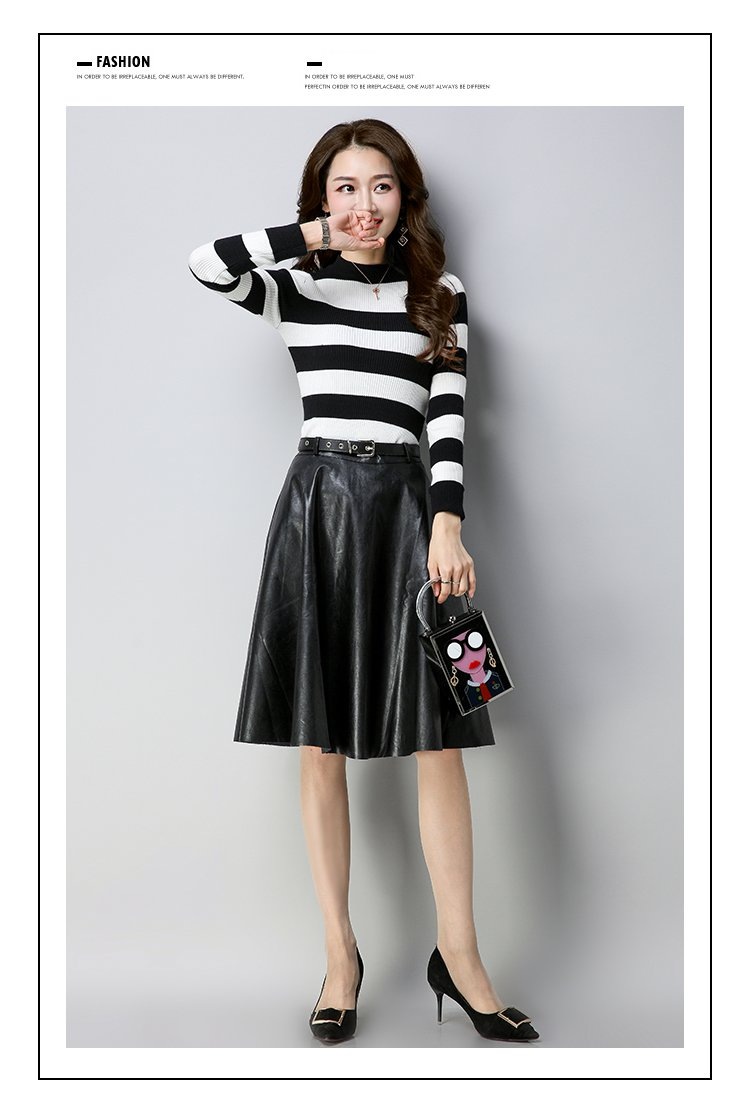 女款纯色时尚通勤保暖条纹针织衫 半身皮裙套装