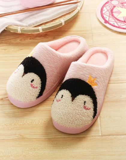 可爱企鹅家居棉拖鞋男女保暖棉拖鞋 毛毛鞋