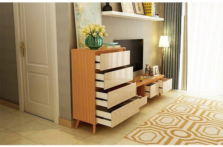 清新北欧 客厅家具小户型榉木环保实用边柜家用斗柜