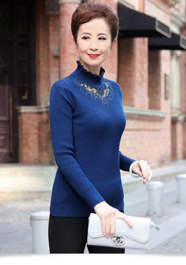 千百·怡恋荷花领纱网手工烫钻针织衫女士毛衣打底衫d
