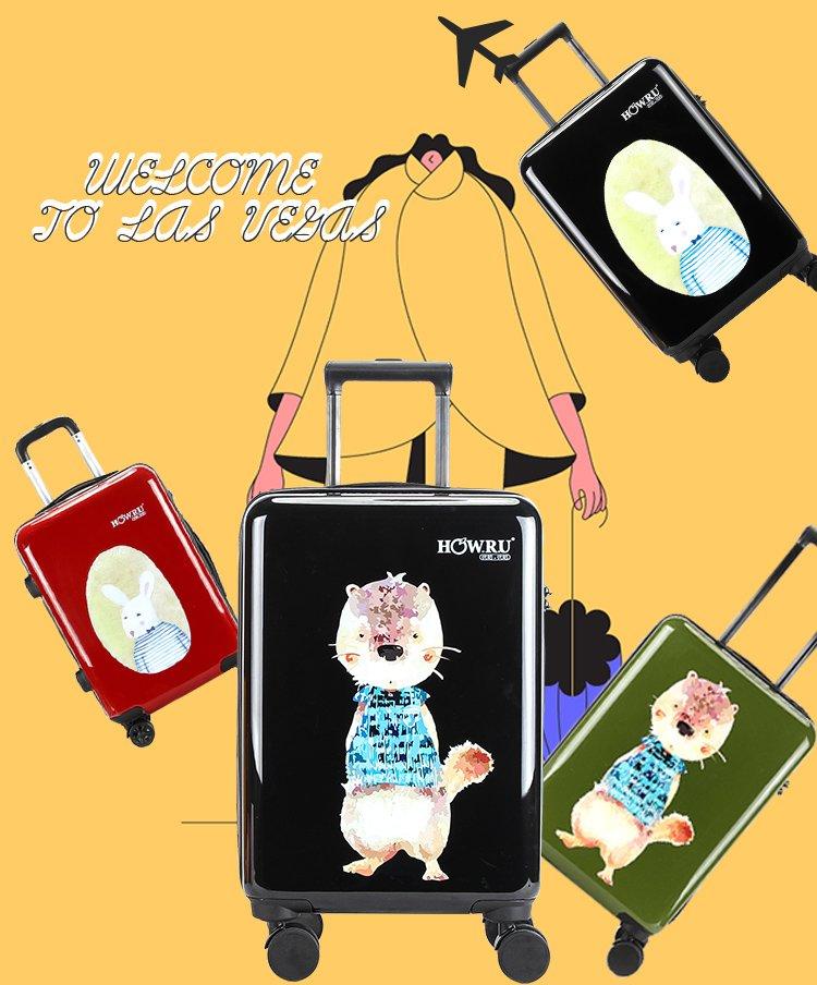 时尚松鼠印花拉链款20寸登机箱密码箱行李箱旅行箱万向轮拉杆箱