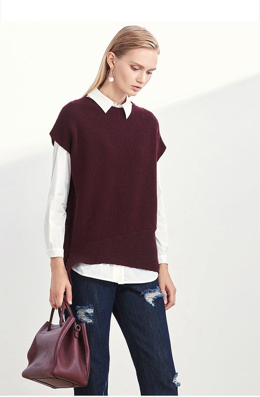 简约时尚纯羊毛无袖针织衫